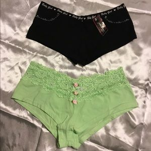 2 Rhinestone Embellished Panties ~ Sz Medium